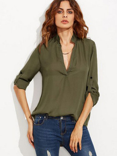 Green Chiffon Blouse V Neck Long Sleeve T Shirt Sleeve Shaping Blouse With Buttons
