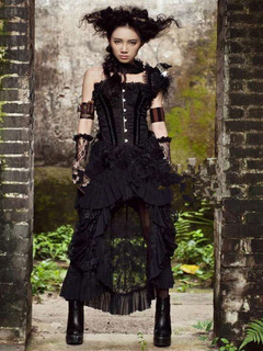 Black Lace Skirt Steampunk High Low Ruffled Mid Calf Skirt For Women