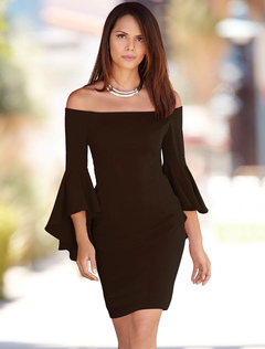Black Bodycon Dress Off The Shoulder Ruffle 3/4 Length Sleeve Slim Fit Sheath Dress