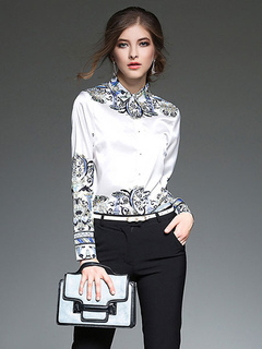 Women's White Shirt Spread Collar Long Sleeve Artwork Printed Chic Blouse