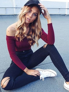 Women's Burgandy T Shirt Off The Shoulder Long Sleeve Elastic Sexy Top