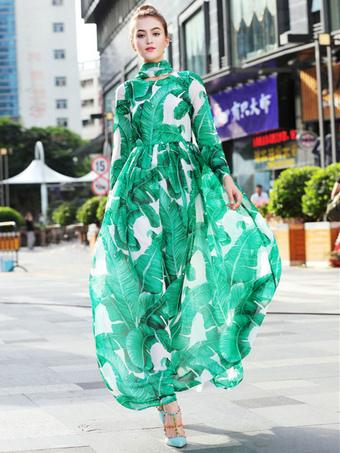 Abito lungo verde in chiffon con scollo tondo maniche lunghe con annodature  con stampe snellente donna a2c501375a3