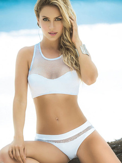 2 Piece Swimsuit White Mesh Round Neck Sleeveless Beach Swimwear For Women