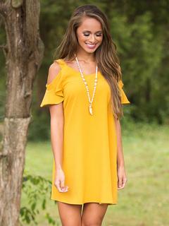 Yellow Shift Dress Cold Shoulder Short Sleeve Women's Summer Dress