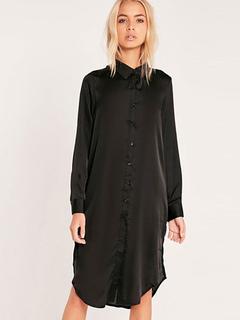 Women's Shift Dress Turndown Collar Long Sleeve Embroidered U Hem Pleated Slit Shirt Dress