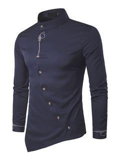 Men's Casual Shirt Dark Navy Stand Collar Long Sleeve Irregular Regular Fit Shirt