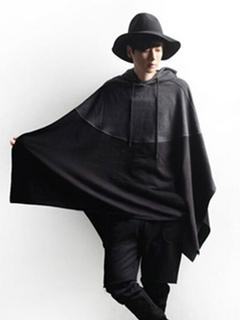 Men Poncho Coat Hooded Oversized Top Black Patchwork Spring Cape Coat