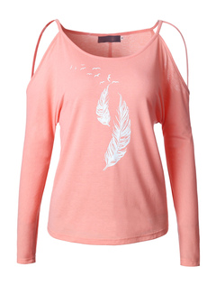Women's Pink T Shirt Round Neck Long Sleeve Cold Shoulder Printed Cotton Top