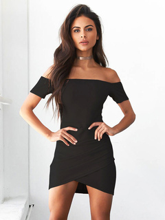 Black Bodycon Dress Off The Shoulder Short Sleeve Draped Short Dress