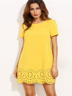Yellow Shift Dress Round Neck Short Sleeve Irregular Cut Out Hem Short Dress