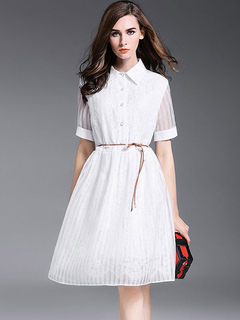 Chiffon Skater Dress Short Lace Sleeve Spread Collar Stripes Layered Flare Dress With Belt