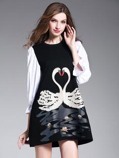 Black Shift Dress Round Neck 3/4 Length Poet Sleeve Swan Embroidered Short Dress