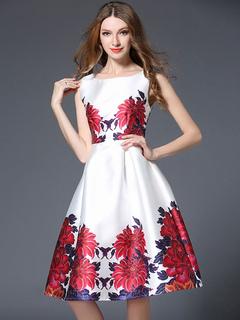 White Skater Dress Round Neck Sleeveless Floral Printed Pleated Flare Dress For Women