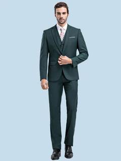 Wedding Suit Groom Notch Laple Hunter Green Tuxedo In 2 Pcs