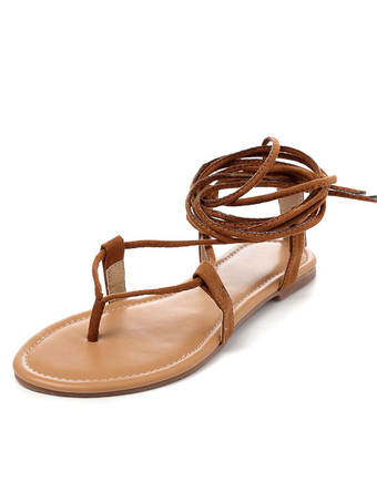 cfc28204df457 Brown Gladiator Sandals 2019 Suede Lace Up Flat Sandal Shoes For Women