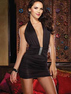 Sexy Club Wear Black Halter Backless Women's Deep V Neck Sleeveless Mini Club Dress