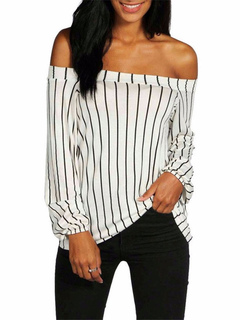 Women's Black T Shirt Off The Shoulder Long Sleeve Stripe Pattern Elastic Chic Top