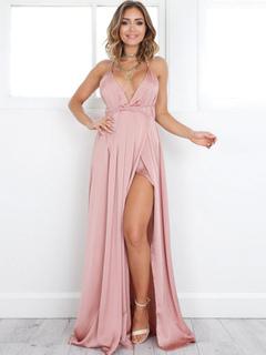 Pink Maxi Dress Women's Split Plunging Neckline Backless Floor Length Slip Dress