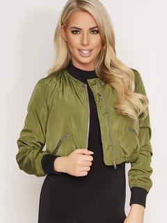 Women's Bomber Jacket Hunter Green Zipper Short Jacket