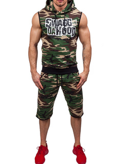 Men's Sweat Suit Hunter Green Camo Printed Sleeveless Hoodie With Short Pants
