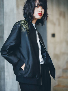 Black Bomber Jacket Women's Leaf Embroidered Zipper Lightweight Jacket