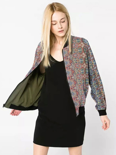 Hunter Green Windbreaker Women's Stand Collar Long Sleeve Floral Printed Two Way Bomber Jacket