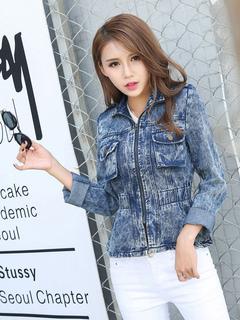 Women's Denim Jacket Blue Spread Collar Long Sleeve Waist Training Distressed Zipper Up Chic Top