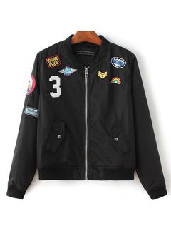 Black Bomber Jacket Women's Stand Collar Long Sleeve Applique Windbreaker Outwear