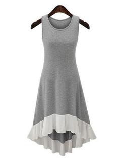High Low Summer Dress Women's Grey Ruffle Stretchy T Shirt Dress