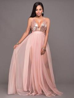 Organza Club Dress Women's Salmon Plunging Neckline Back Cross Sleeveless Sequined Maxi Dress