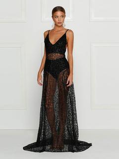 Black Lace Clubwear Women's Strappy Sleeveless Backless Semi Sheer High Slit Maxi Club Dress
