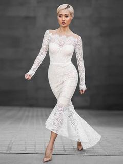 Sexy pizzo abito sirena bianca fuori il vestito Bodycon spalla alta bassa bbe60078ca2