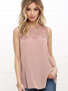 Chiffon Tank Top Salmon Lace Round Neck Sleeveless Casual Top For Women