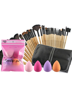 Professional Makeup Combo 32 Beauty Brushes With 4 Powder Sponge Set For Women