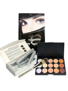 Women's Makeup Set Black False Lashes With Eye Shadow In 4 Piece Set
