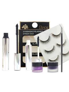 Women's Makeup Set Black Microfiber False Lashes With Eye Shadow And Mascara