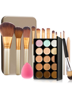 Women's Beauty Combo Earth Tone Eyeshadow Palette And Brushes Set With Powder Sponge In Random Color