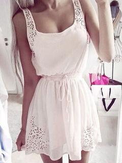 Women's Summer Dress Square Neckline Strap Sleeveless Waist String Shirred Pleated Mini Dress
