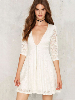White Lace Dress Women's Plunging Neckline Half Illusion Sleeve Zipper Up Pleated Skater Dress