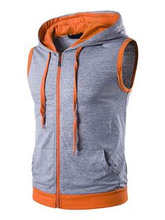 Men's Vest Hoodie Light Grey Hooded Sleeveless Drawstring Zip Up Regular Fit Sweatshirt