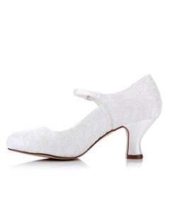 Lace Wedding Shoes Kitten Heel White Round Toe Mary Jane Bridal Shoes