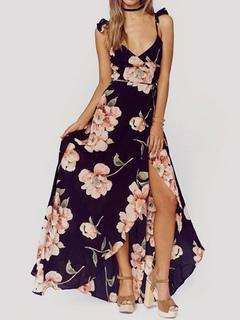 Printed Maxi Dress Chiffon Floral Print V Neck Floor Length Slip Dress For Women