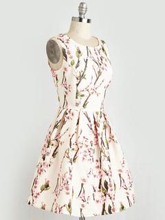 Vintage White Dress Floral Printed Women's Keyhole Sleeveless Short Summer Dress