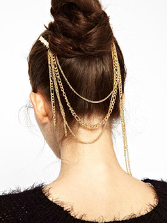 Gold Head Chains Boho Double Hair Combo Women's Hair Accessories