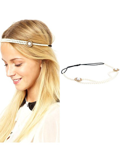 Women's Boho Headband Pearls Beaded Ivory Hair Accessories