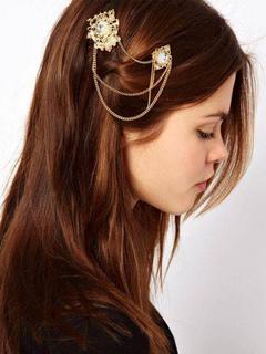 Boho Head Chains Women's Double Hair Clips Gold Hair Accessories