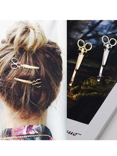 Gold Hair Clip Women Scissor Design Hair Accessory