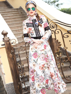 Floral Maxi Dress Long Sleeve Women's Silk High Collar Printed Long Party Dress