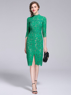 Lace Party Dress Women's Green Stand Collar 3/4 Length Sleeve Slit Elegant Bodycon Dress