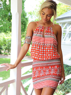 5b5d744b79 Boho Dress Sexy Bodycon Dress Women Printed Red Halter Summer Dress